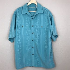 Caribbean turquoise button up collared shirt
